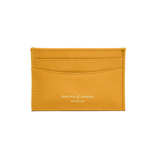 Slim Credit Card Case in Mustard Saffiano from Aspinal of London