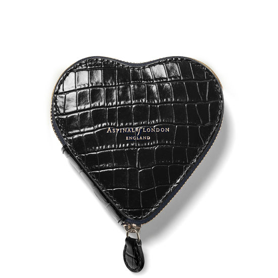 Heart Coin Purse in Deep Shine Black Small Croc from Aspinal of London