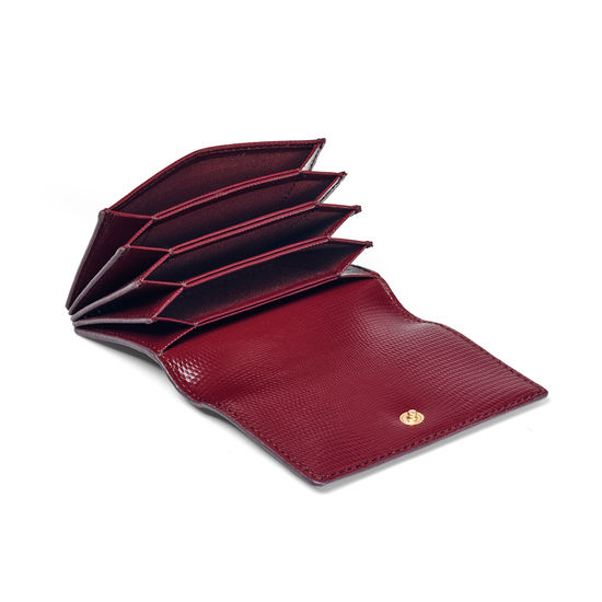 Accordion Credit Card Holder in Bordeaux Silk Lizard from Aspinal of London