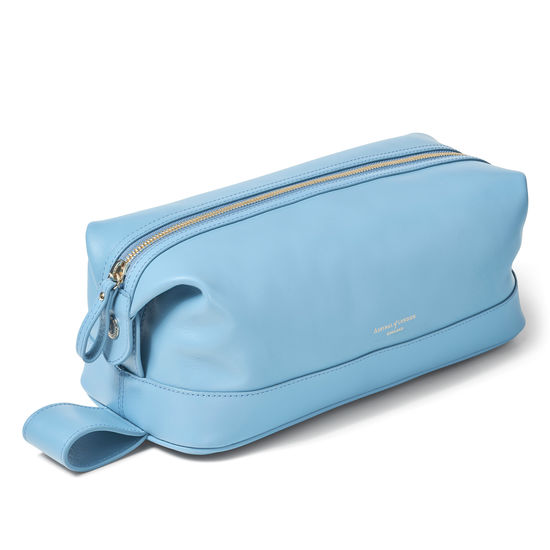 Men's Leather Washbag in Smooth Bluebird from Aspinal of London