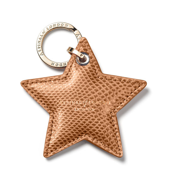 Star Leather Keyring in Camel Lizard from Aspinal of London