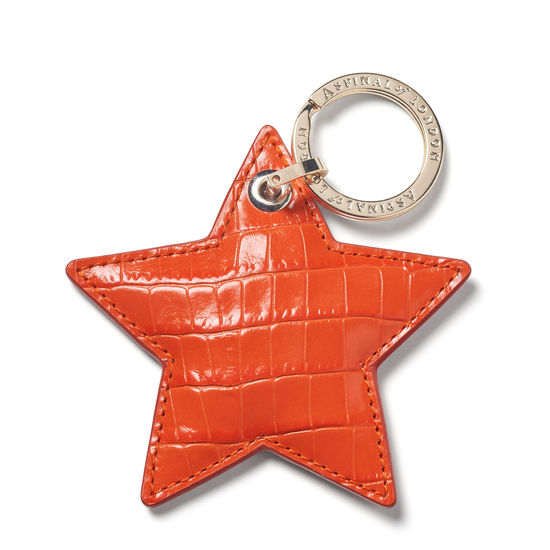 Star Leather Keyring Deep Shine Amber Small Croc from Aspinal of London