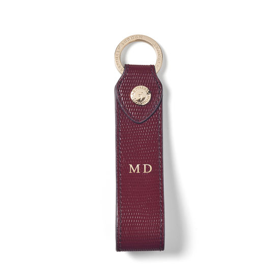 Leather Loop Keyring in Bordeaux Silk Lizard from Aspinal of London