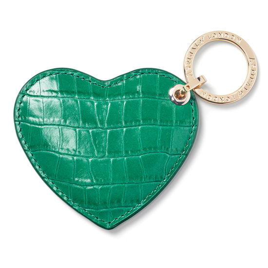 Heart Keyring in Deep Shine Emerald Green Small Croc from Aspinal of London