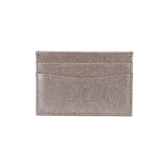 Slim Credit Card Case in Gunmetal Saffiano & Deep Fuchsia Suede from Aspinal of London