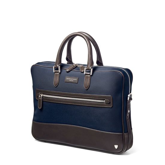 Anderson Slim Folio Briefcase in Navy Nylon with Leather Trim from Aspinal of London