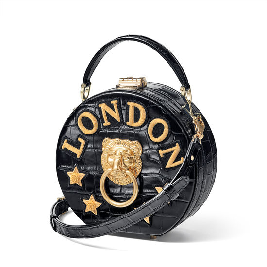 Lion Hat Box in Black Croc with London Stars Embroidery from Aspinal of London