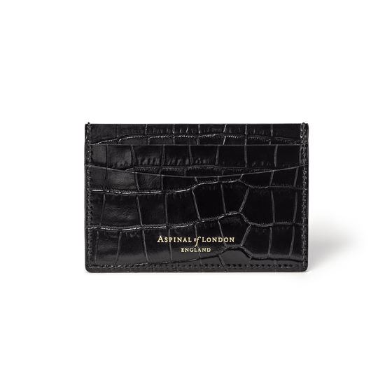 Slim Credit Card Case in Deep Shine Black Small Croc from Aspinal of London