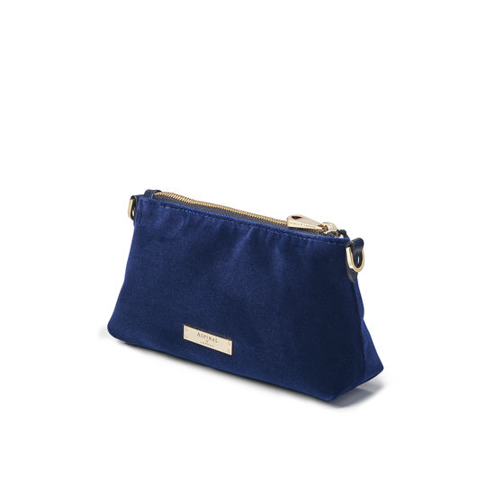 Trinket Box Internal Pouch in Navy Velvet from Aspinal of London