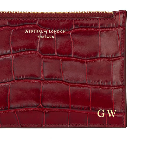 Small Essential Flat Pouch in Deep Shine Bordeaux Croc from Aspinal of London