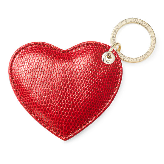 Heart Key Ring in Red Lizard from Aspinal of London