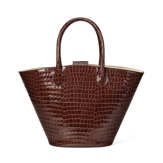 Matilda Tote in Deep Shine Chestnut Small Croc from Aspinal of London