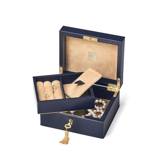 Bijou Jewellery Box in Midnight Blue Silk Lizard from Aspinal of London