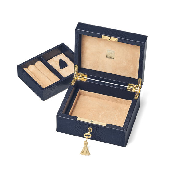 Bijou Jewellery Box in Midnight Blue Silk Lizard from Aspinal of London