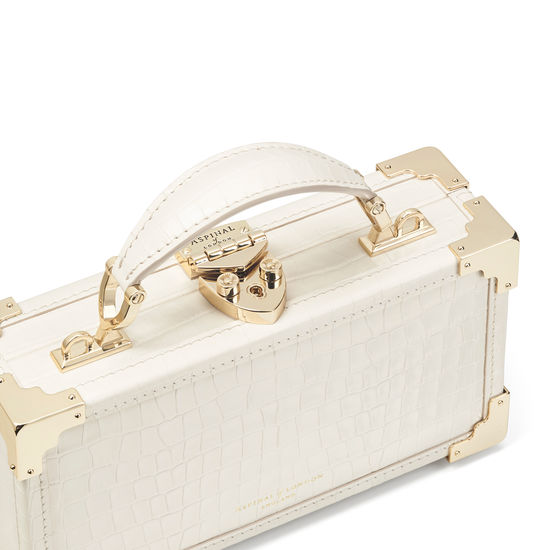 Trinket Box in Deep Shine Ivory Small Croc from Aspinal of London