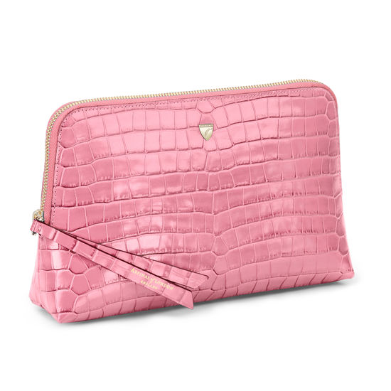 Large Essential Cosmetic Case in Deep Shine Tea Rose Small Croc from Aspinal of London