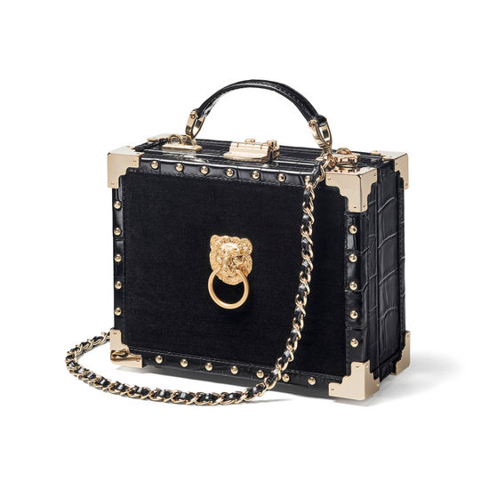 Lion Trunk in Black Velvet & Croc with Studs from Aspinal of London