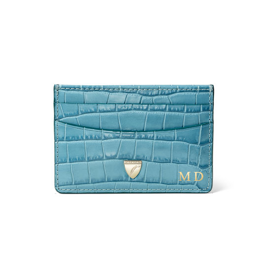 Slim Credit Card Holder in Deep Shine Cornflower Small Croc from Aspinal of London