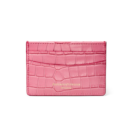 Slim Credit Card Holder in Deep Shine Tea Rose Small Croc from Aspinal of London