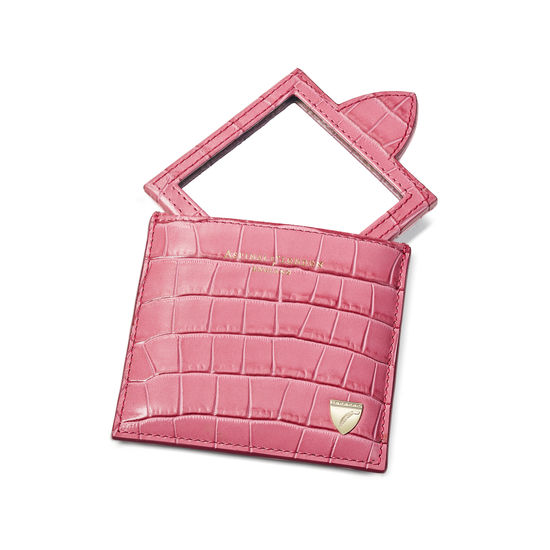 Compact Mirror in Deep Shine Tea Rose Small Croc from Aspinal of London