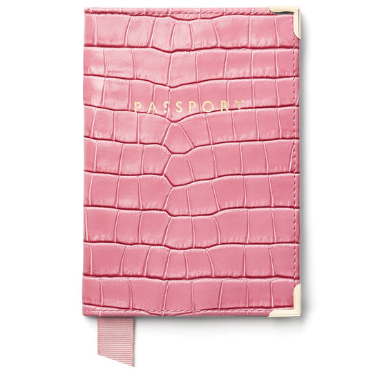 Passport Cover in Deep Shine Tea Rose Small Croc from Aspinal of London