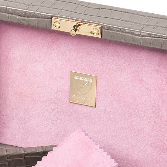 Bijou Jewellery Box in Deep Shine Warm Grey Small Croc from Aspinal of London