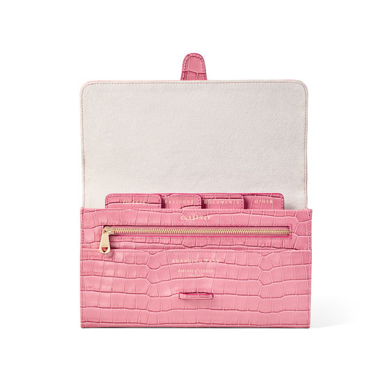 Travel Wallet with Removable Inserts in Deep Shine Tea Rose Small Croc from Aspinal of London