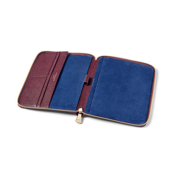 A5 Zipped Padfolio in Burgundy Saffiano from Aspinal of London