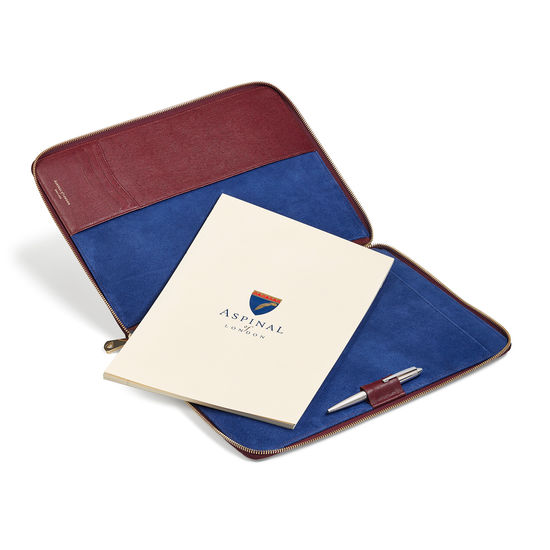 Executive A4 Zipped Padfolio in Burgundy Saffiano from Aspinal of London