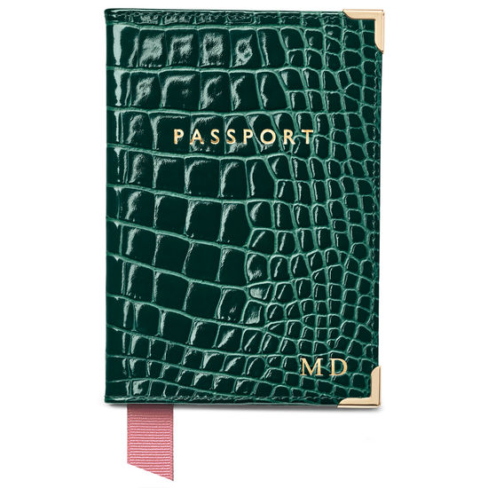 Travel Collection with Removable Inserts in Evergreen Patent Croc from Aspinal of London