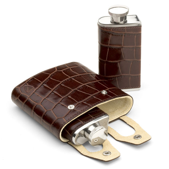 Double 6oz Leather Hip Flask in Deep Shine Amazon Brown Croc & Stone Suede from Aspinal of London