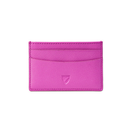 Slim Credit Card Case in Hibiscus Saffiano from Aspinal of London