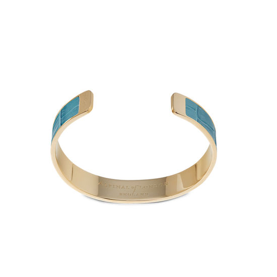 Cleopatra Skinny Cuff Bracelet in Deep Shine Cornflower Small Croc from Aspinal of London
