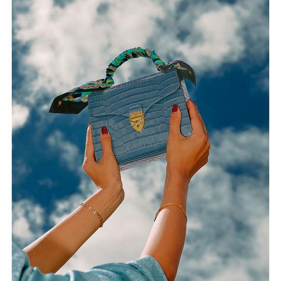 Midi Mayfair Bag in Deep Shine Cornflower Small Croc from Aspinal of London