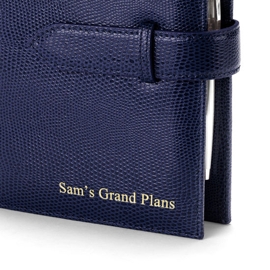 Compact Personal Organiser in Midnight Blue Lizard & Cream Suede from Aspinal of London