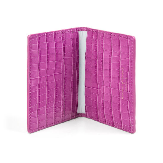 Double Fold Credit Card Holder in Deep Shine Hibiscus Small Croc from Aspinal of London