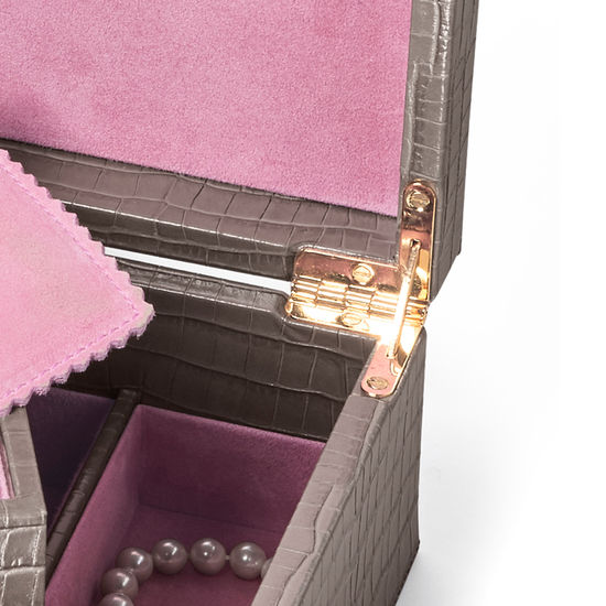 Savoy Jewellery Box in Deep Shine Warm Grey Small Croc from Aspinal of London