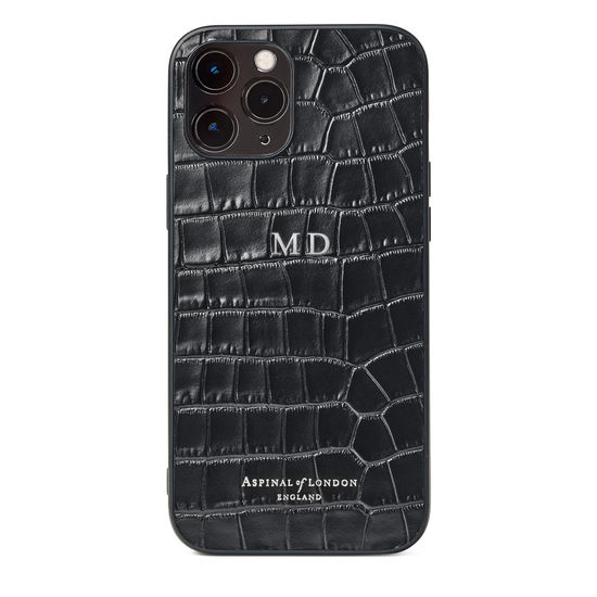 iPhone 12 Pro Max Case in Deep Shine Black Small Croc from Aspinal of London