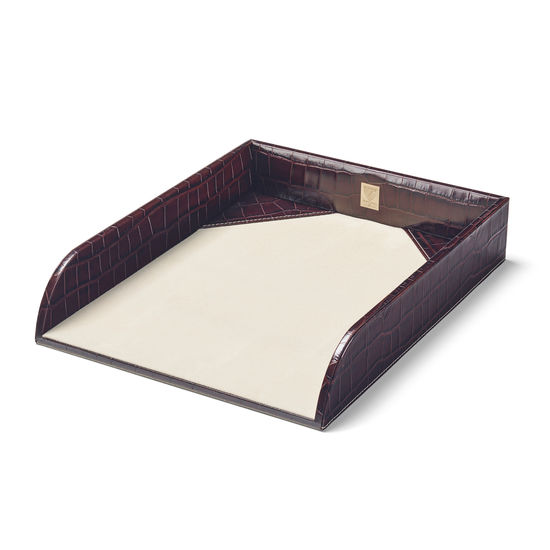 Paper Tray in Deep Shine Amazon Brown Croc & Stone Suede from Aspinal of London
