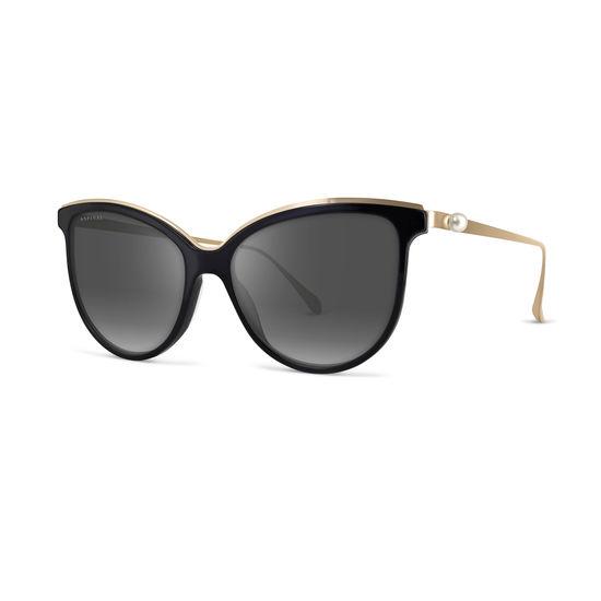 Ladies' Mayfair Sunglasses in Black Acetate & Gold Metal from Aspinal of London