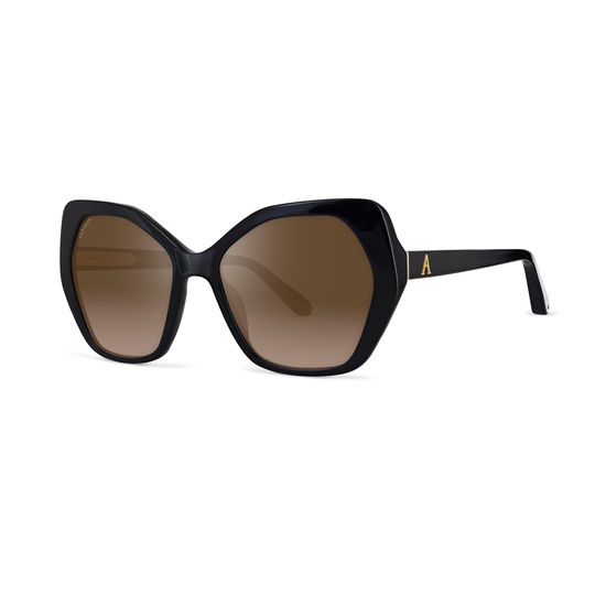 Ladies' Sorrento Sunglasses in Black Acetate from Aspinal of London