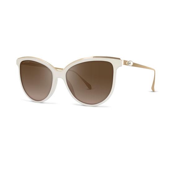 Ladies' Mayfair Sunglasses in Pearl Acetate & Gold Metal from Aspinal of London