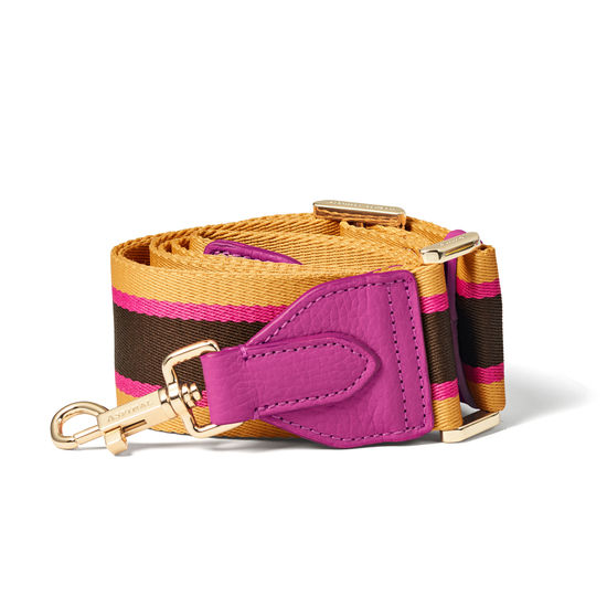 Webbing Bag Strap in Hibiscus, Sand & Brown Stripes from Aspinal of London