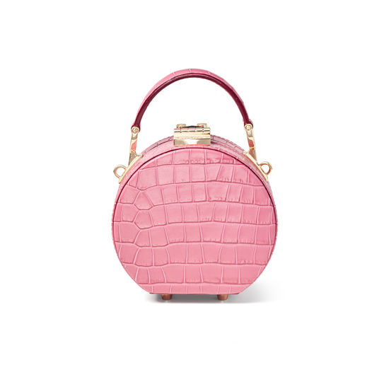 Micro Hat Box in Deep Shine Tea Rose Small Croc from Aspinal of London