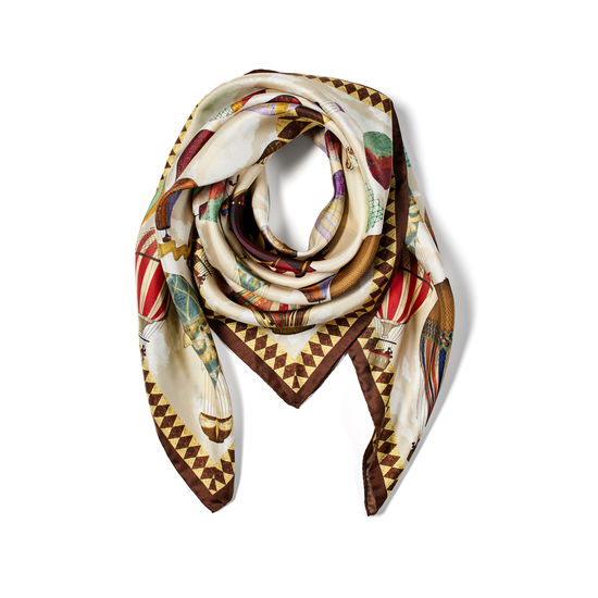 Hot Air Balloon Silk Scarf in Chestnut Pure Silk Twill from Aspinal of London