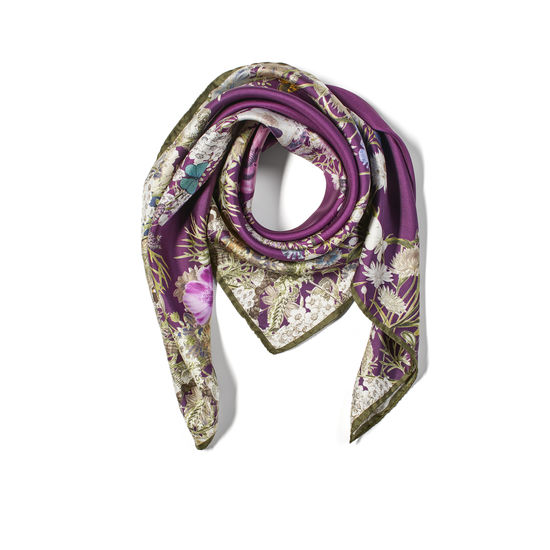 Ombre 'A' Floral Silk Scarf in Plum Pure Silk Twill from Aspinal of London