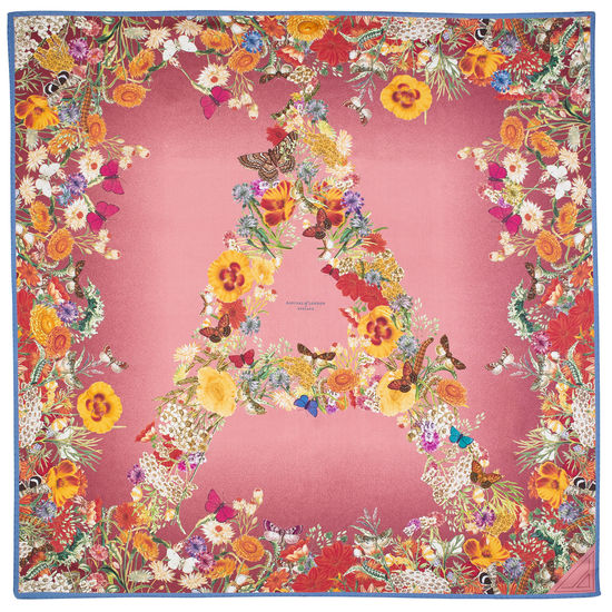 Ombre 'A' Floral Silk Scarf in Pink from Aspinal of London