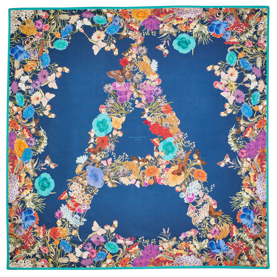 Ombre 'A' Floral Silk Scarf in Teal from Aspinal of London