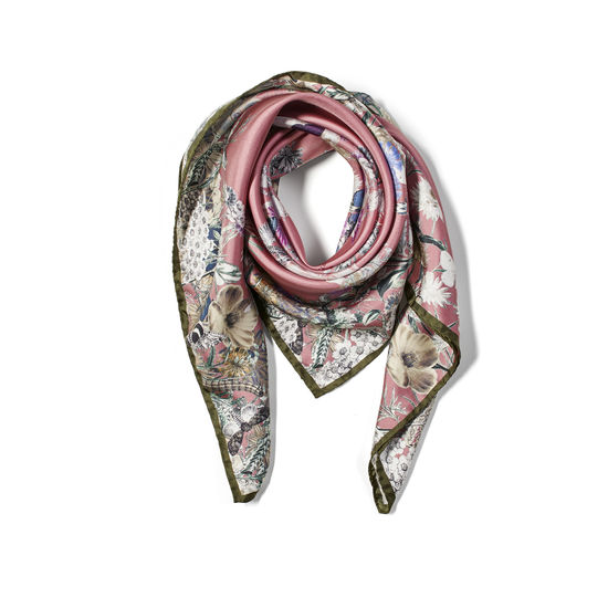 Ombre 'A' Floral Silk Scarf in Tea Rose Pure Silk Twill from Aspinal of London
