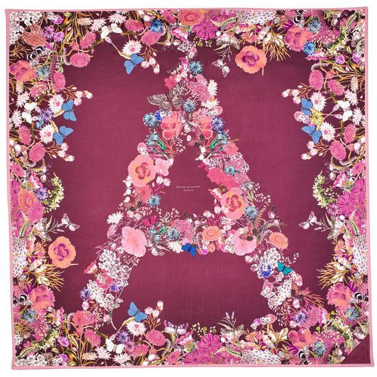 Ombre 'A' Floral Silk Scarf in Bordeaux from Aspinal of London